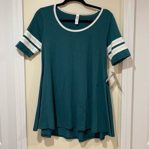 NWT XS Perfect Tee. Dark teal with striped sleeves